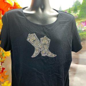 Karen Scott xl boots shirt T1192